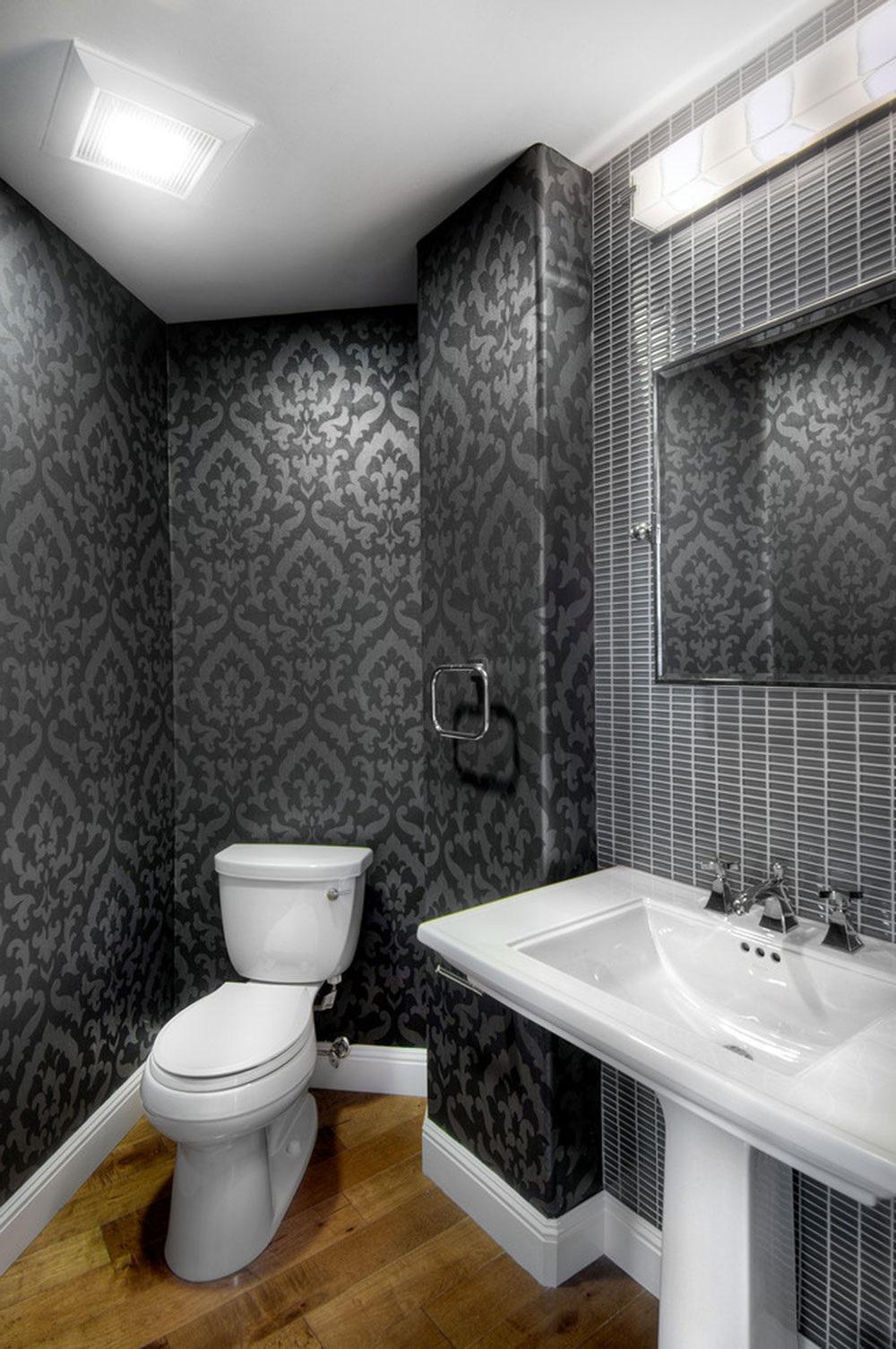 маленькая серая ванная комната