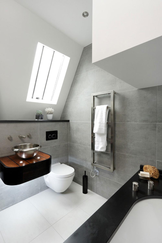 темно серая ванная комната