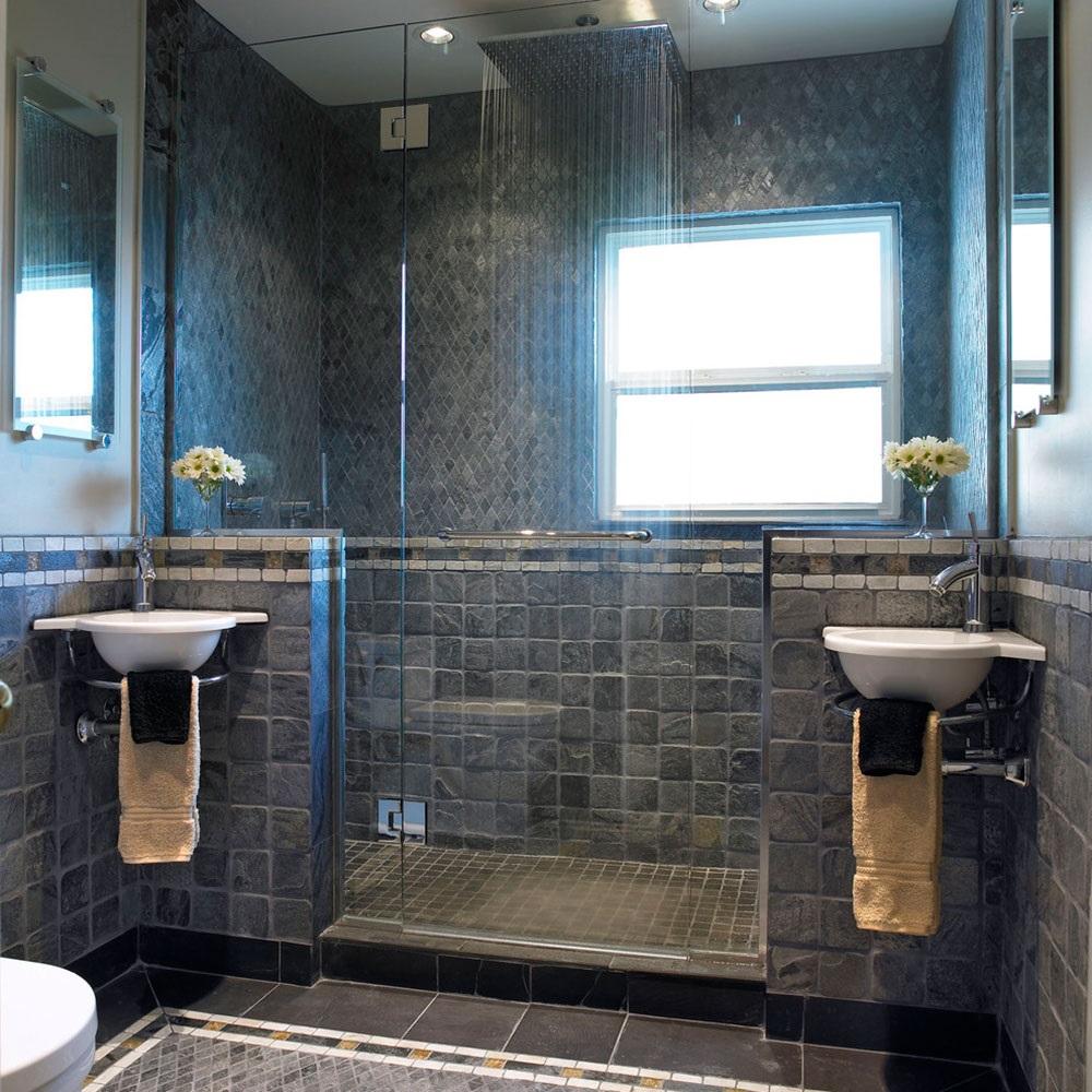 серые ванные комнаты фото