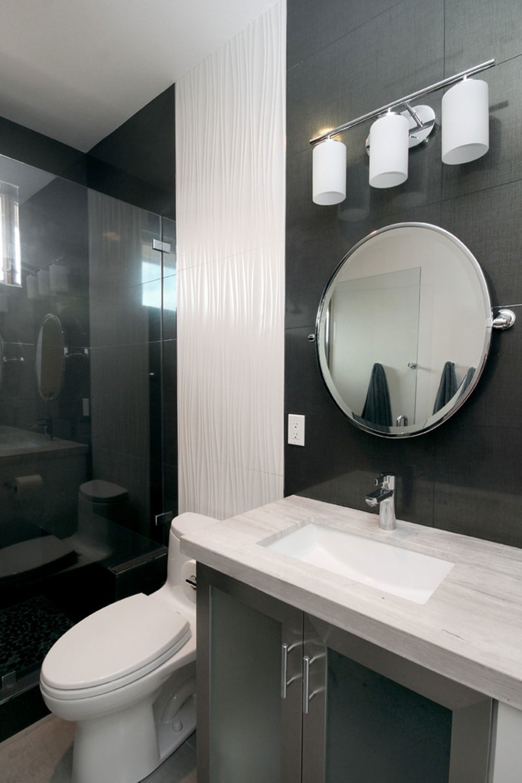 серый кафель в ванной фото