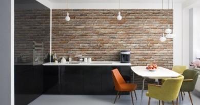 Цегляна стіна в інтер'єрі кухні