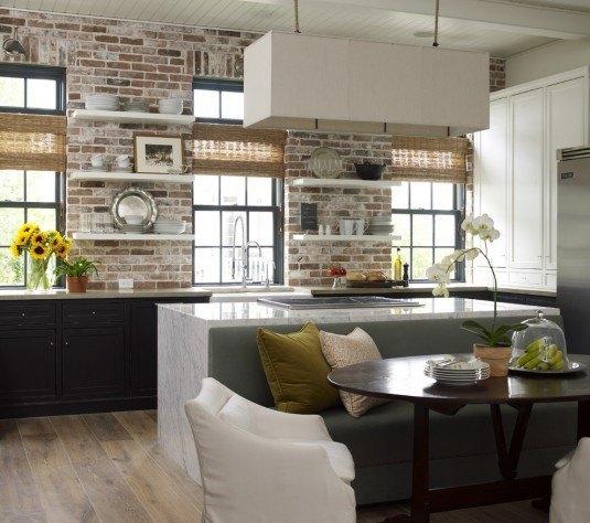 імітація цегляної стіни на кухні