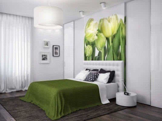 спальня в зеленому кольорі дизайн фото