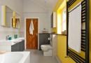 Сміливий колір стін ванної фото.