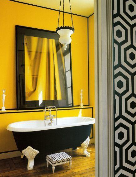 дизайн ванної в жовтому кольорі фото