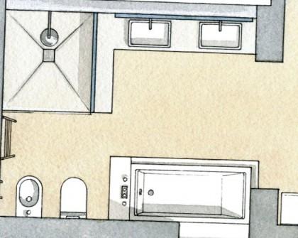 дизайн спальні з ванною кімнатою