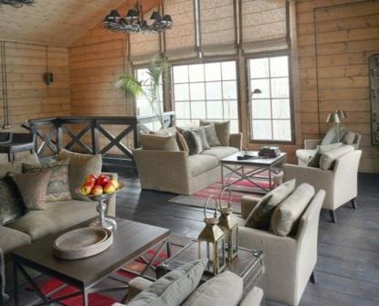 дизайн интерьера гостинной в стиле кантри
