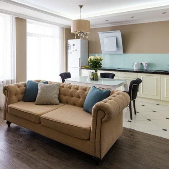 дизайн кухни гостиной фото с зонированием