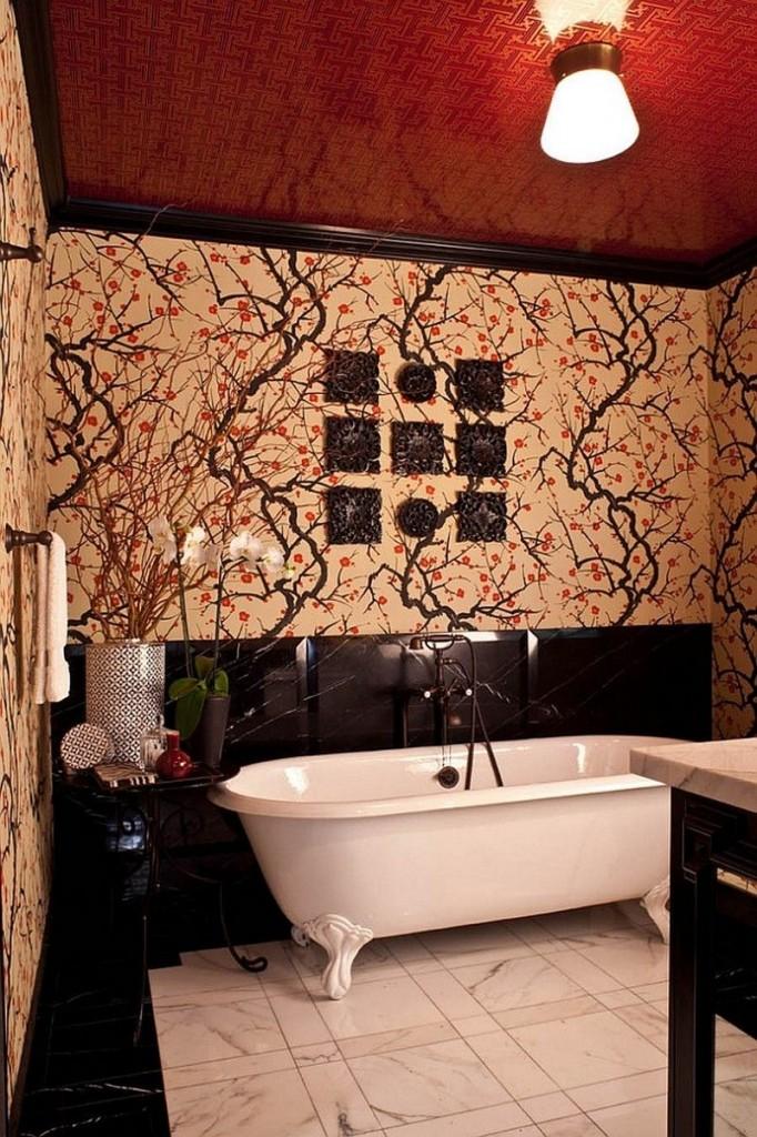 структурна натяжна стеля у ванній фото