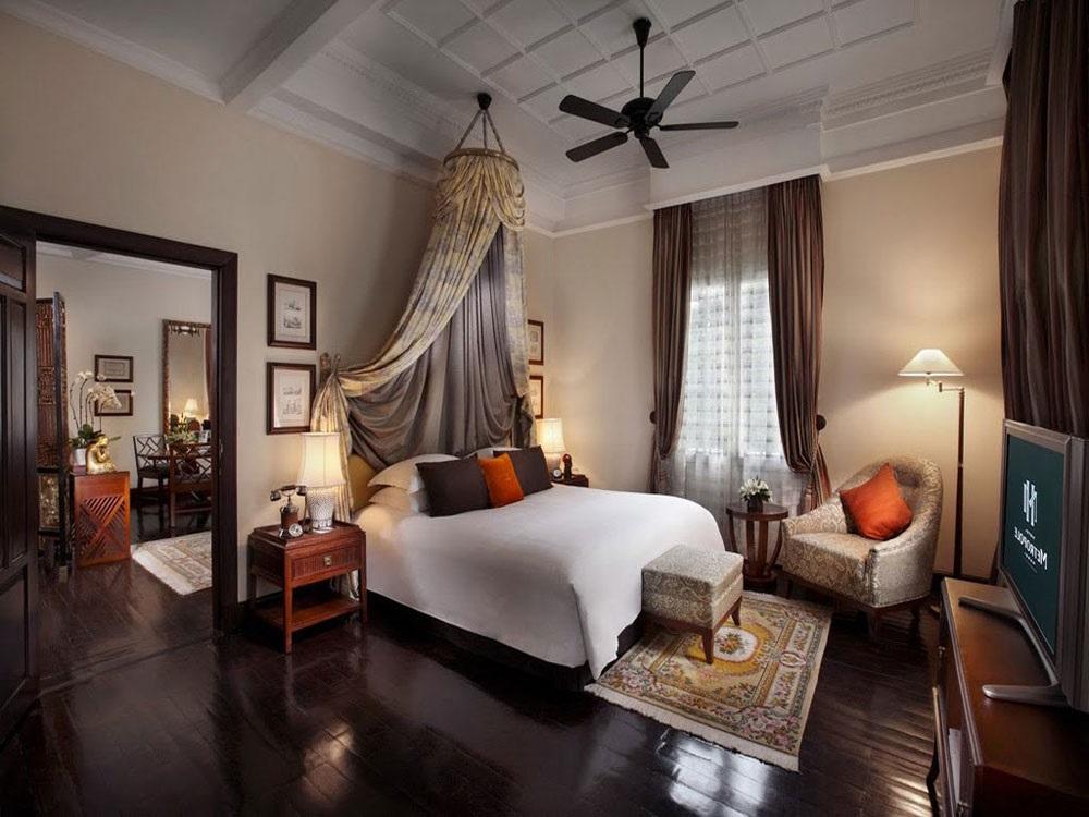 інтер'єр спальні в колоніальному стилі фото