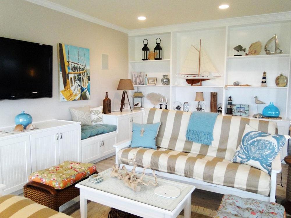 інтер'єр вітальні в морському стилі фото