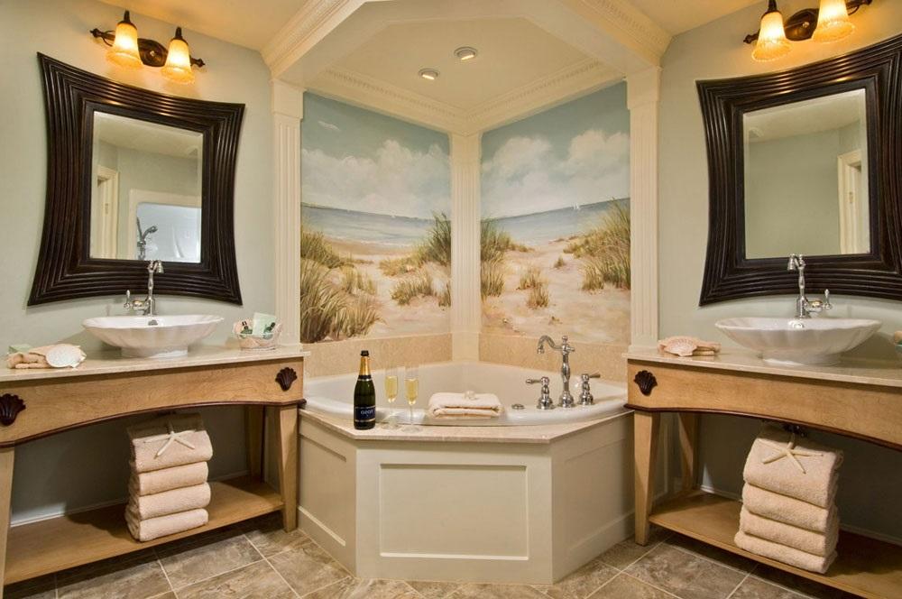интерьер ванной комнаты в морском стиле фото