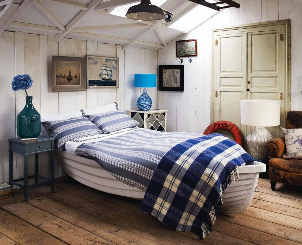 інтер'єр спальні в морському стилі фото