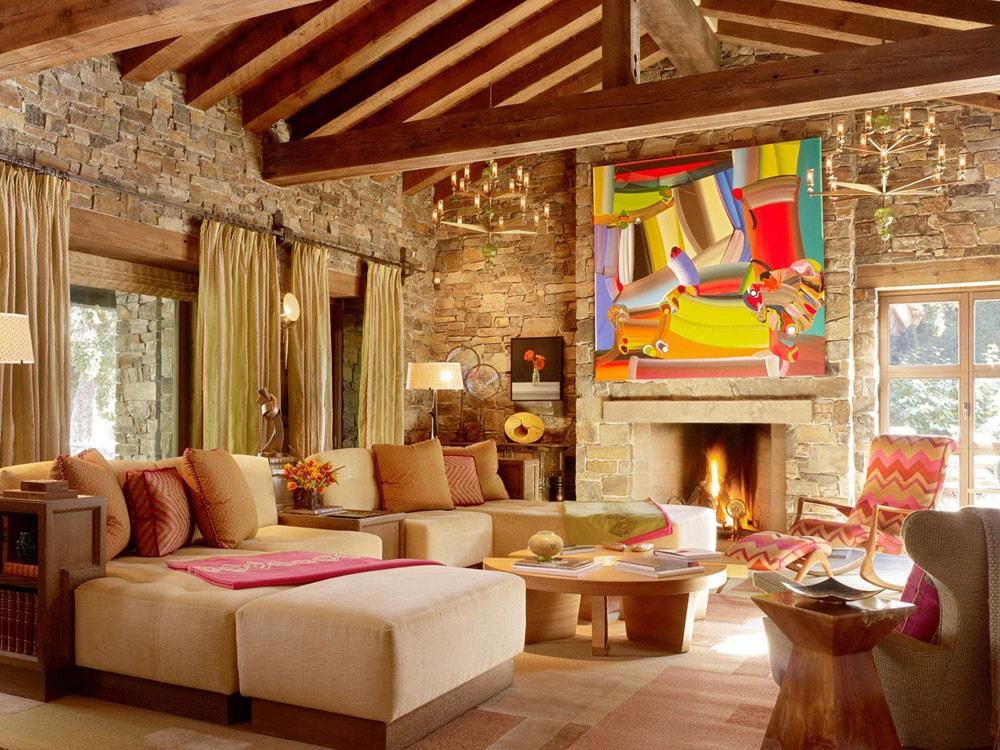інтер'єр вітальні в іспанському стилі фото