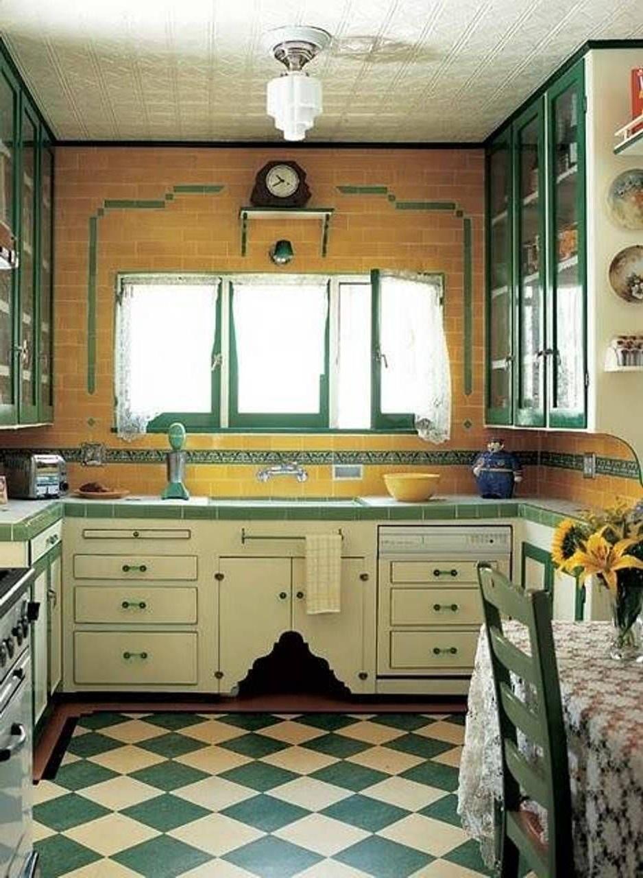 зеленый пол на кухне фото