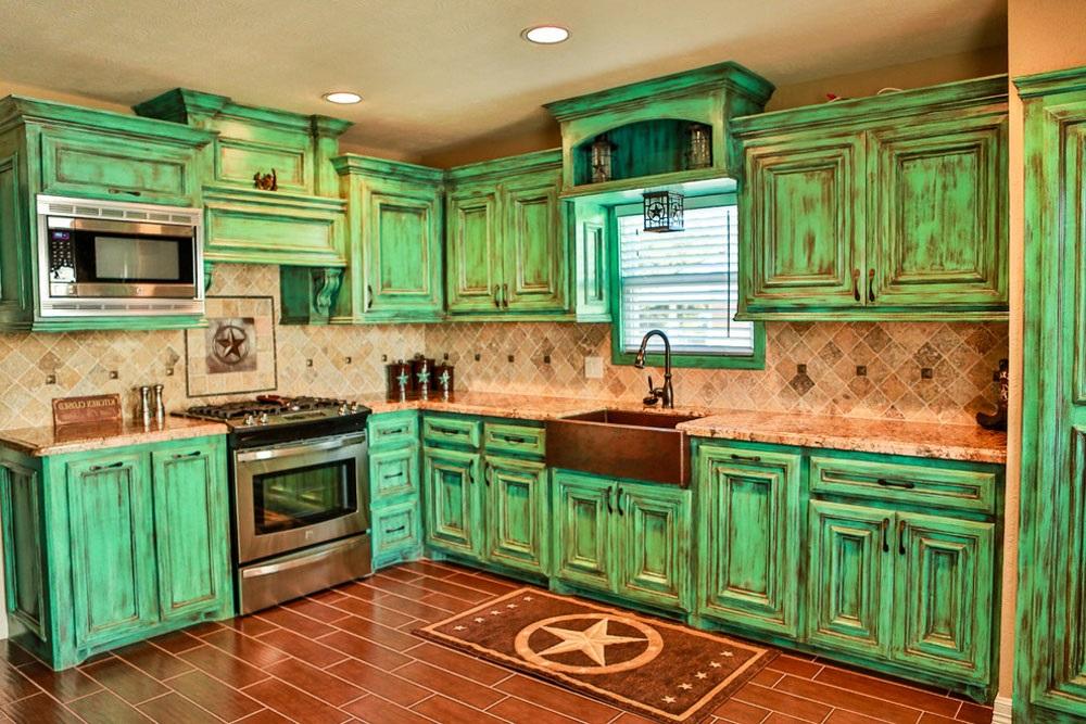 зеленая кухня в стиле прованс