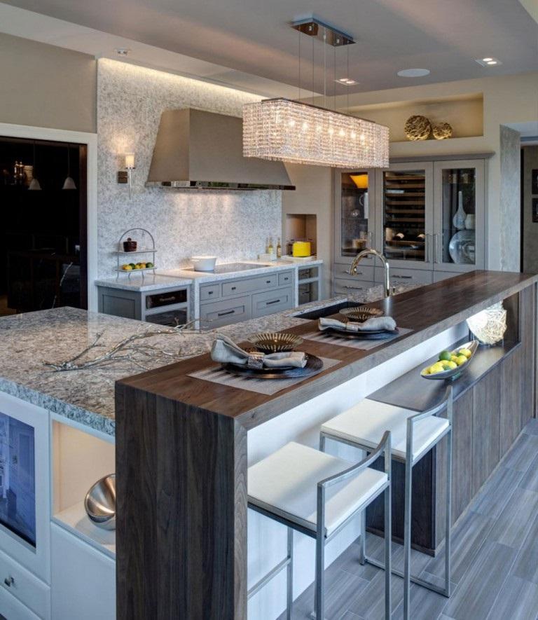 белая кухня и серая столешница