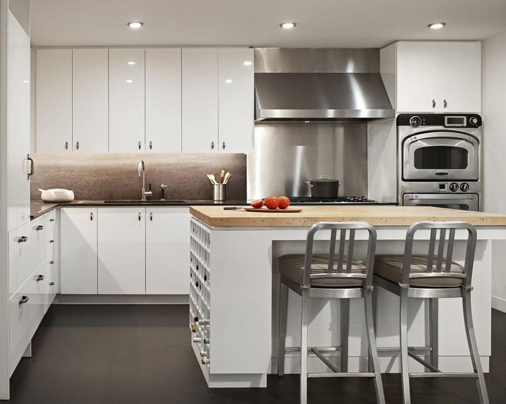 белая кухня металлик фото