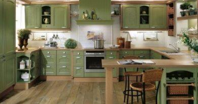 дизайн кухні зеленого кольору фото