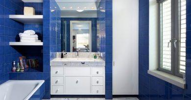 ванна кімната в синьо-білих тонах фото