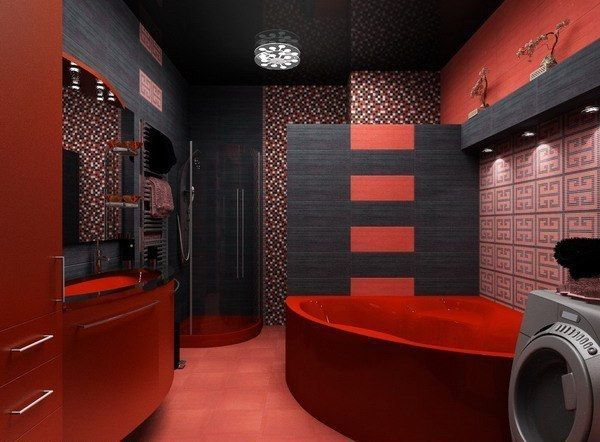 ванна кімната в червоно-чорному кольорі фото