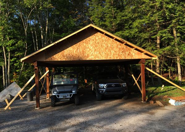 дерев'яний навіс для машини фото