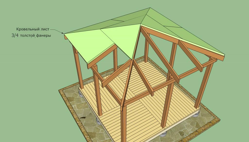 четырехскатная крыша беседки своими руками