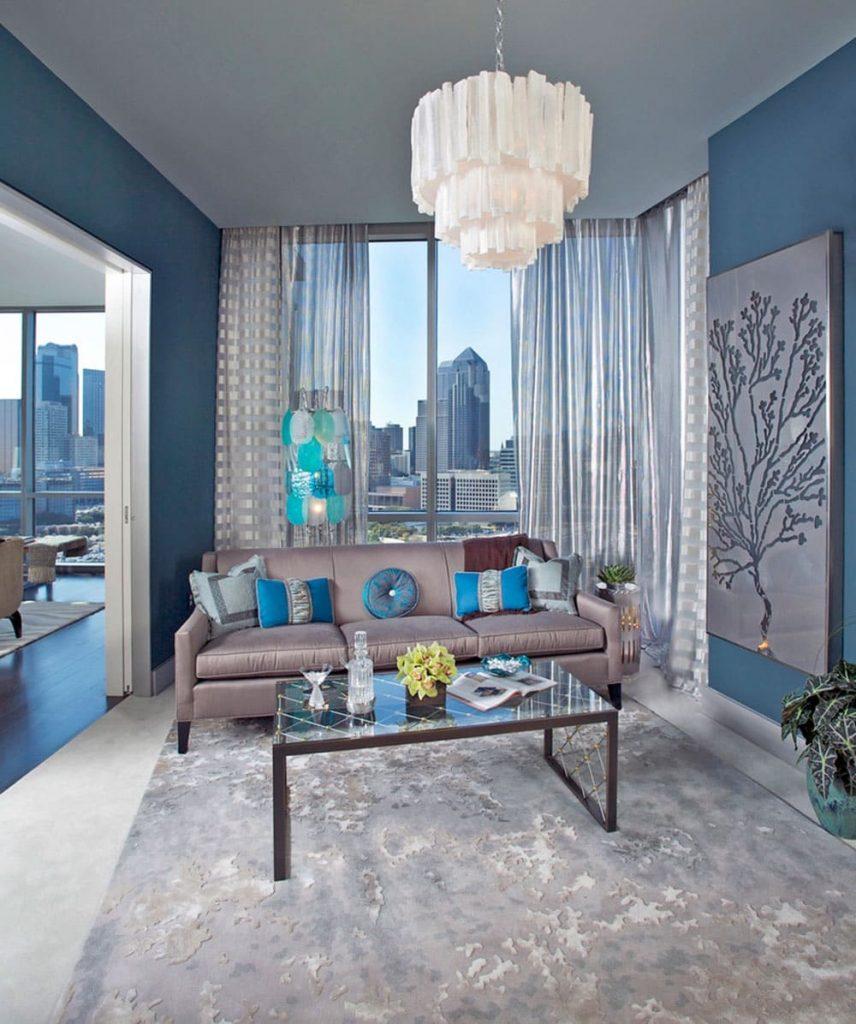 гостиная в синих тонах
