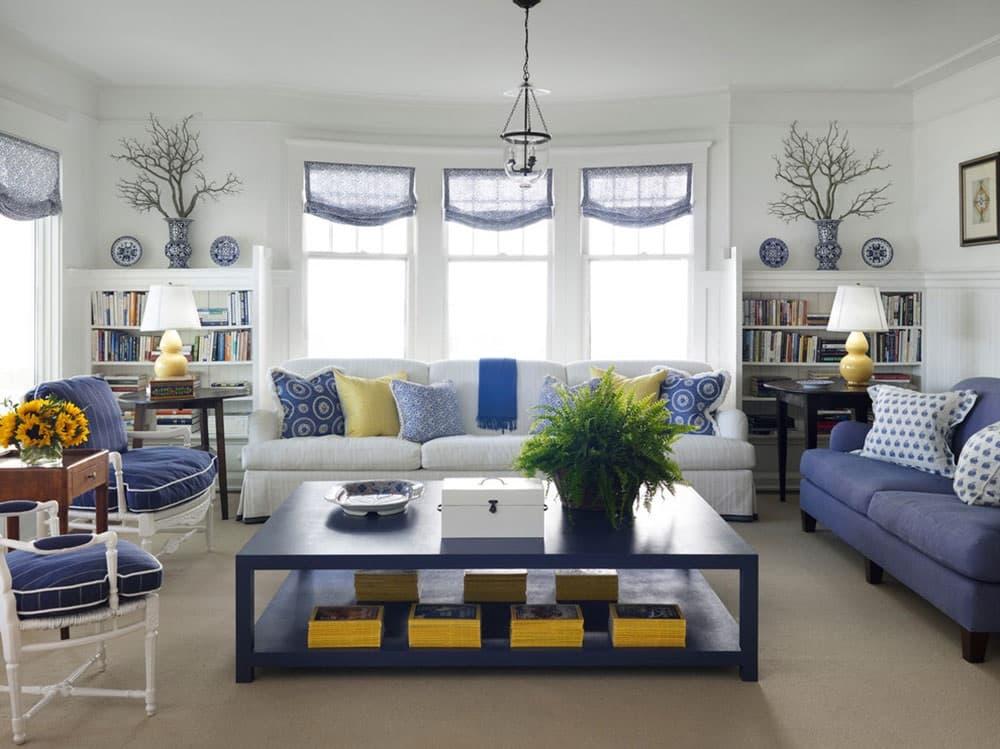 синьо біла вітальня фото