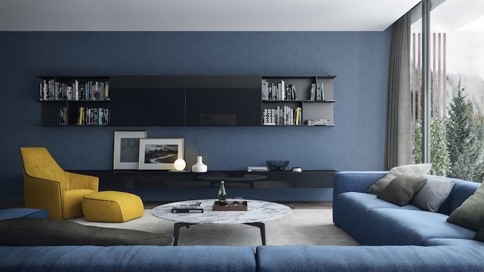 сіро синя вітальня фото