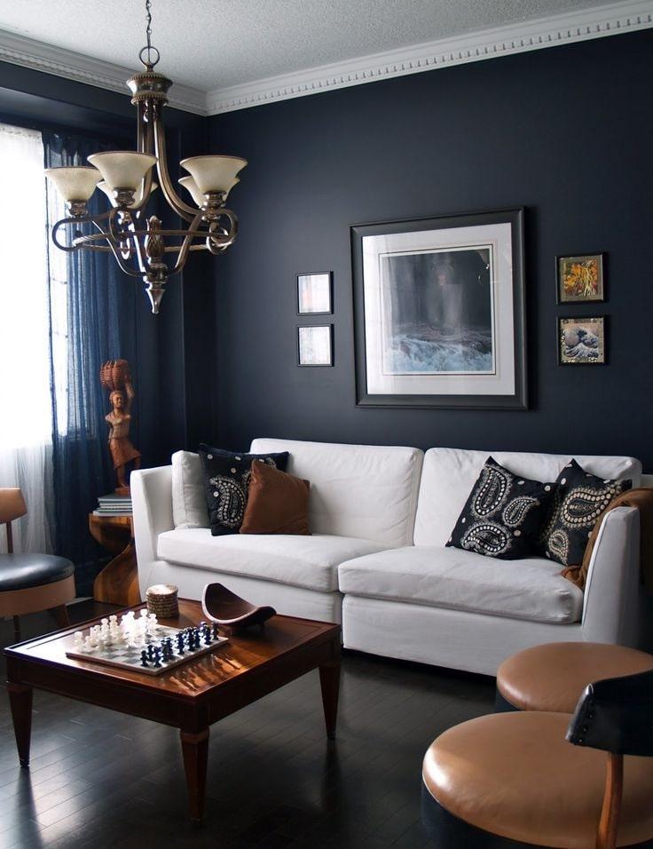 темно синя вітальня фото